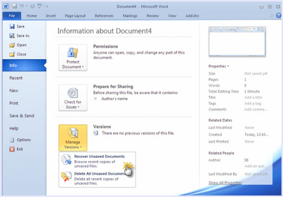 How to recover unsaved MS Word Document? - Web 4 Galaxy
